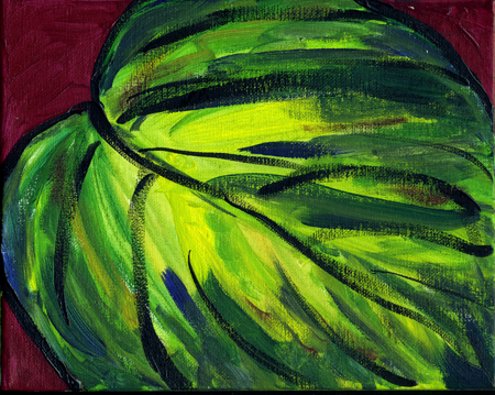 "Hostas #2, acrylic on canvas,                           8x10"", by Lynette Yetter"