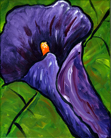 "Lily #1, acrylic on canvas,                           8x10"", by Lynette Yetter"