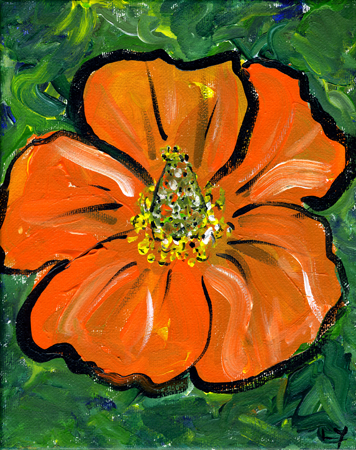 "Poppy #1, acrylic on canvas,                           8x10"", by Lynette Yetter"