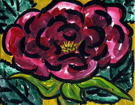 "Rose #1, acrylic on canvas,                           8x10"", by Lynette Yetter"