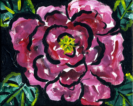 "Rose #2, acrylic on canvas,                           8x10"", by Lynette Yetter"
