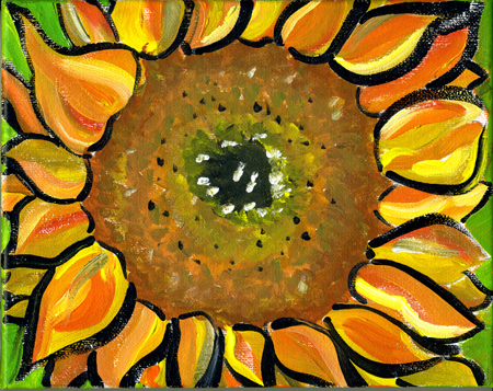 "Sunflower #1, acrylic on canvas,                           8x10"", by Lynette Yetter"
